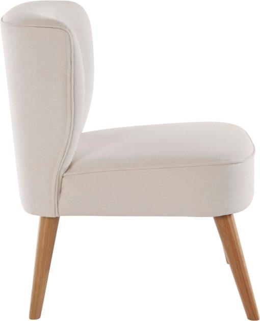 Beżowy fotel z tkaniny strukturalnej, styl retro