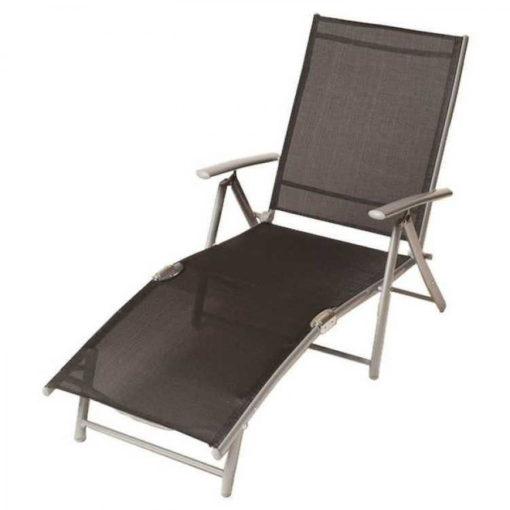 Aluminiowo-stalowy leżak z tekstylnym pokryciem