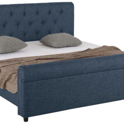 Atrakcyjne tapicerowane łóżko ze stylowym wezgłowiem, niebieskie