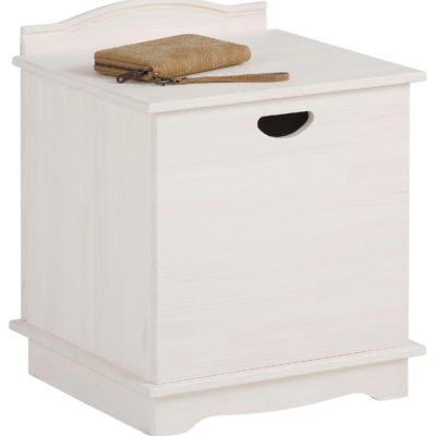 Drewniana szafeczka, ławka ze schowkiem, biała