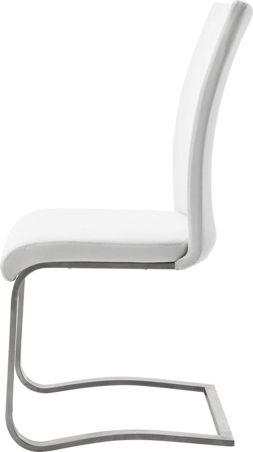 Białe krzesła na płozach, z prawdziwej skóry - 2 sztuki