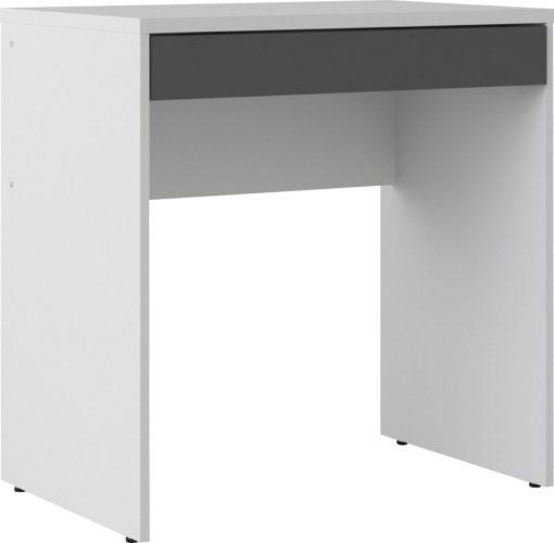 Minimalistyczne białe biurko z szarą szufladą