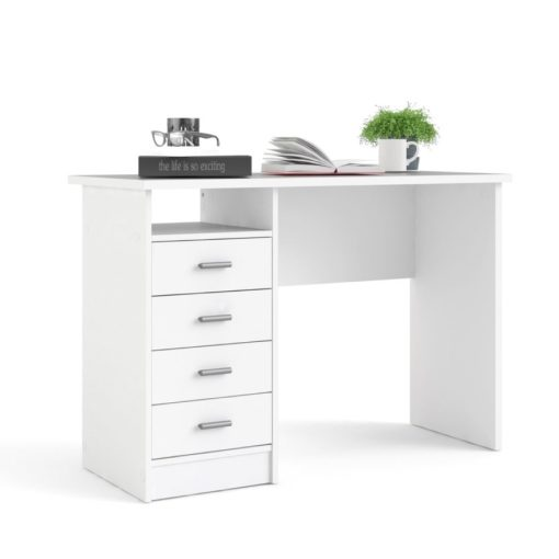 Białe biurko Tvilum z szufladami do przechowywania