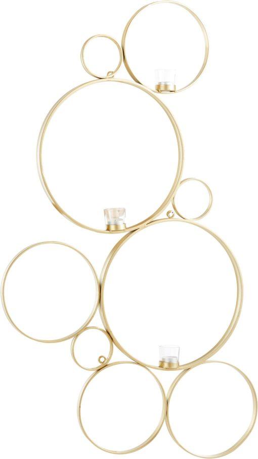 Złoty świecznik na ścianę w kształcie połączonych okręgów