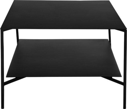 Czarny stolik z półką, styl nowoczesny, wykonany z metalu