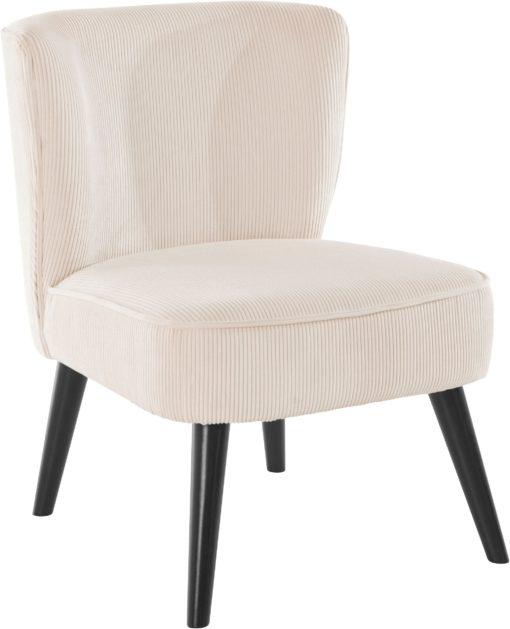 Sztruksowy fotel w kremowym kolorze, styl retro
