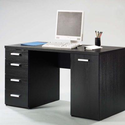 Biurko z szufladami i przestrzenią za drzwiami, czarne