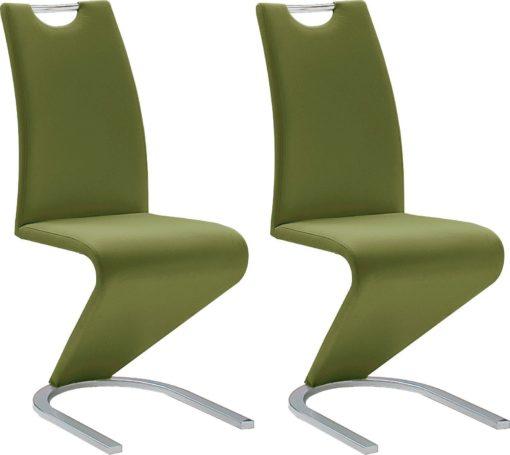 Nowoczesne, oliwkowe krzesła, sztuczna skóra - 2 sztuki