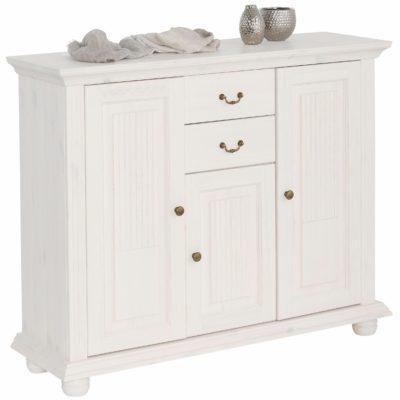 Rustykalna komoda biała z dekoracyjnymi frezowaniami