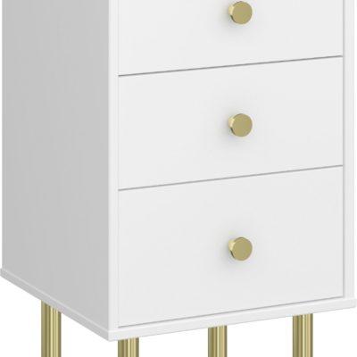 Biała komoda ze złotymi dodatkami, nowoczesna