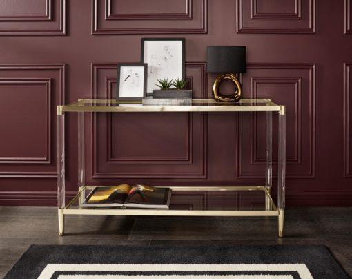 Modernistyczny stolik ze złotą ramą i szklanym blatem