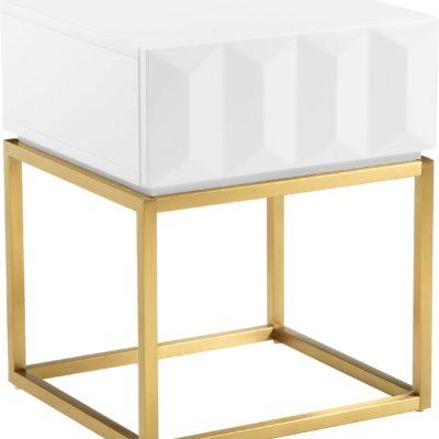 Stolik glamour ze złota podstawą i geometrycznym frontem