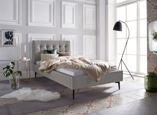 Szlachetne, tapicerowane łóżko, szare 100x200 cm