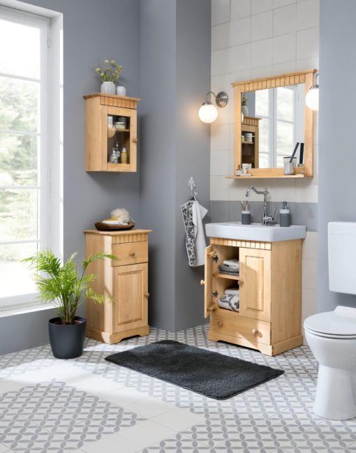 Lustro w sosnowej ramie z półką do łazienki lub sypialni