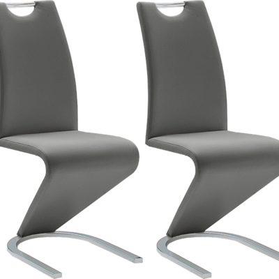 Nowoczesne, szare krzesła, sztuczna skóra - 2 sztuki