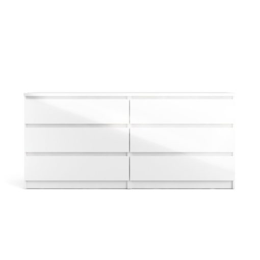 Duża biała komoda Naia z sześcioma szufladami