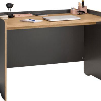 Grafitowe biurko, blat w kolorze dębu, skandynawskie