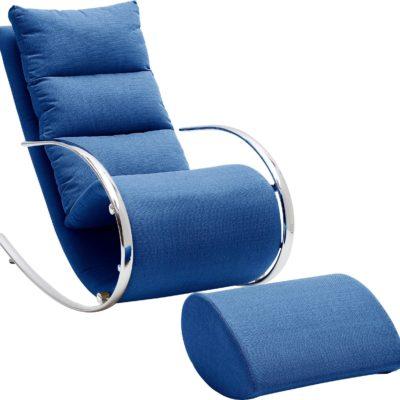 Fotel relaksacyjny z podnóżkiem, niebieski, bujany