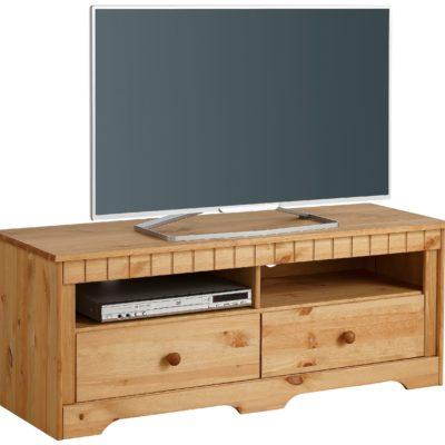 Sosnowa szafka RTV pod telewizor, idealnie ukryje kable
