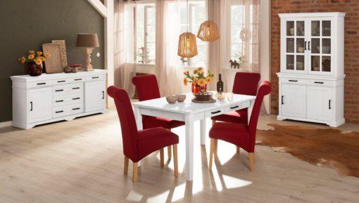 Piękny sosnowy stół z szufladami 140cm, biały