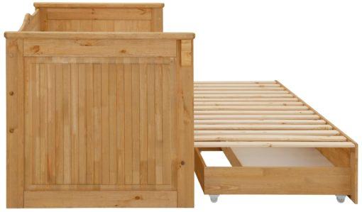 Rozkładana drewniana kanapa z szufladami na pościel