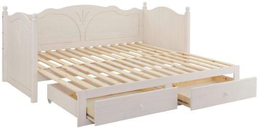 Białe sosnowe łóżko rozkładane z szufladami 90x200 cm