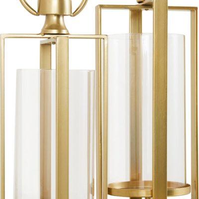 Zestaw dwóch złotych świeczników Leonique, glamour