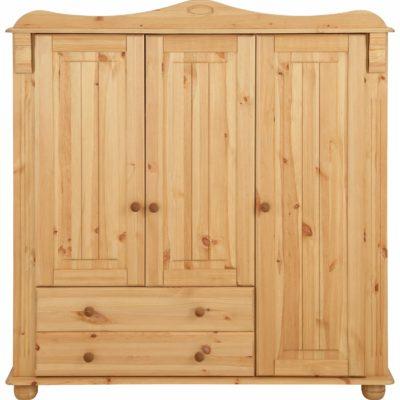 Rustykalna sosnowa szafa trzydrzwiowa z szufladami