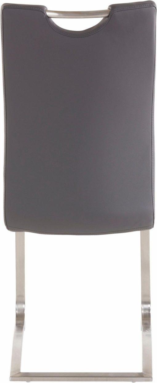 Szare krzesła na płozach, ze sztucznej skóry - 2 sztuki