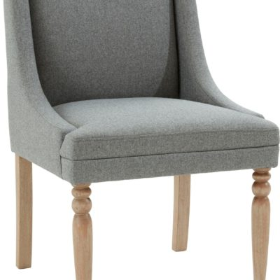 Szary fotel z toczonymi nogami