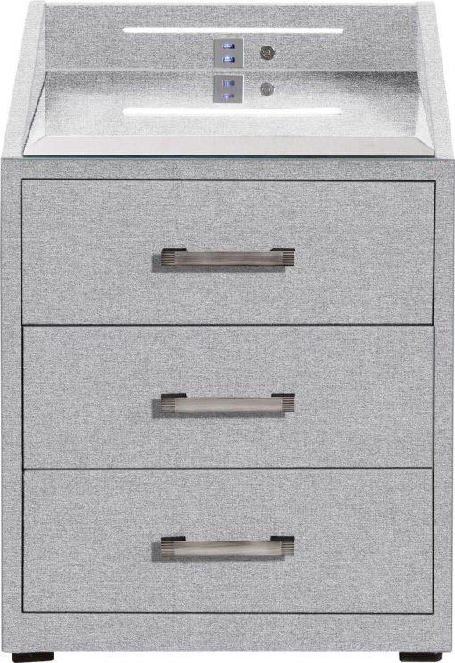 Szafka nocna pokryta tkaniną, jasnoszara, 3 szuflady