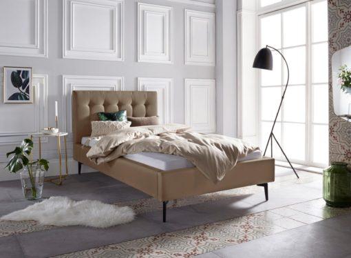 Szlachetne, tapicerowane łóżko, brązowe 100x200 cm