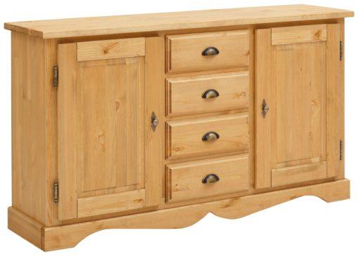 Biały kredens z 2 drzwiami i szufladami z drewna sosnowego