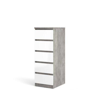 Komoda Naia biała z korpusem w kolorze betonu,  5 szuflad