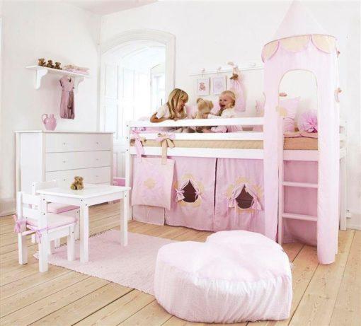 Bajkowa wieża montowana do łóżka dziecięcego