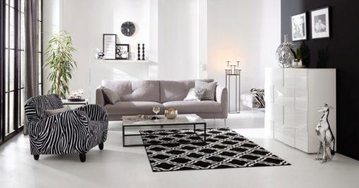 Dywan z graficznym wzorem czarno-biały, 80x150cm