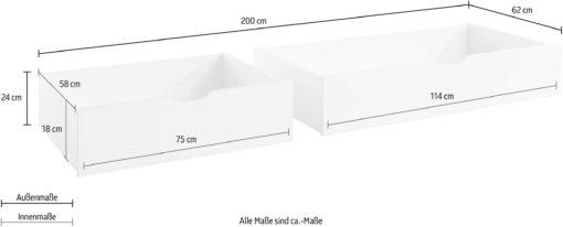 Dwie białe szuflady pod łóżko, na kółkach