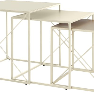 3-częściowy zestaw kremowych stolików z metalu, nowoczesny styl