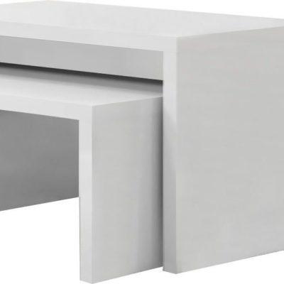 Dwa białe stoliki o różnej wielkości, w połysku