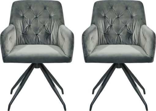 Wygodne krzesła, fotele z pikowaniem na plecach, antracytowe