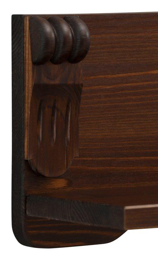 Sosnowa półka ciemnobrązowa ze zdobieniem, 90 cm