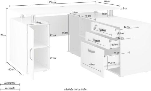 Białe biurko narożne z komodą, szufladami i półkami