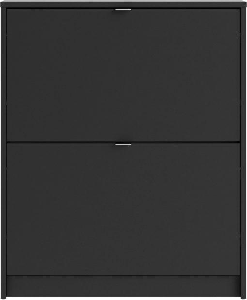 Czarna szafka na buty, 2 klapy, matowa, nowoczesna