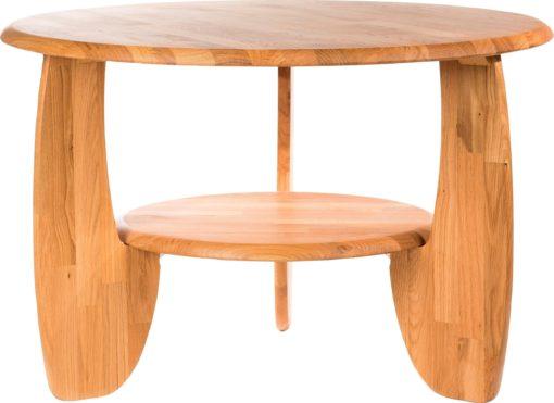 Okrągły stolik kawowy z dzikiego dębu, drewniany, olejowany