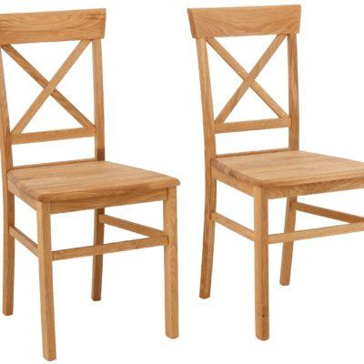 Dębowe krzesła z krzyżowym oparciem, rustykalne - 2 sztuki