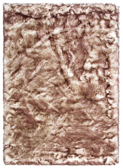 Miękki futrzany dywan 80x150 cm w odcieniach brązu