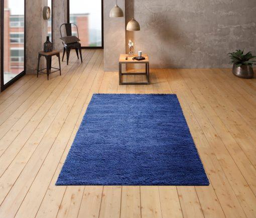 Wełniany, niebieski dywan z długim włosiem 70x140cm
