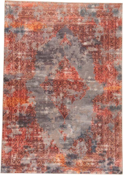 Wzorzysty dywan 90x160cm, styl vintage, rdzawo-czerwony