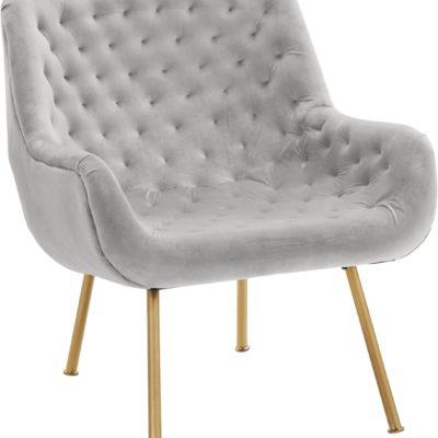 Ekskluzywny, tapicerowany fotel ze złotymi nogami, szary