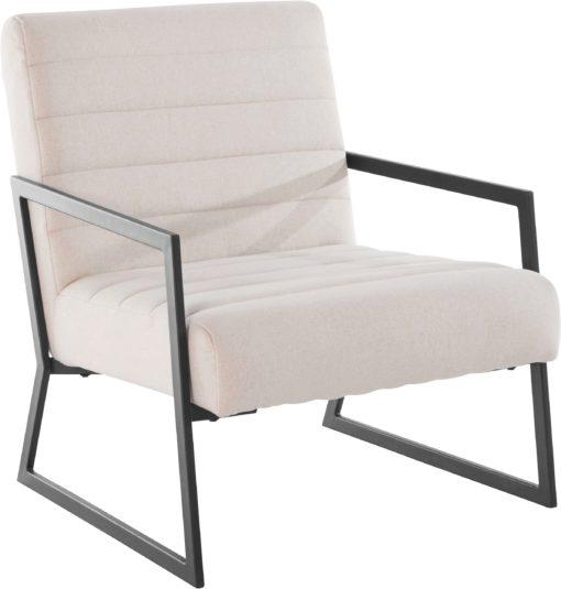 Beżowy fotel z czarną metalową ramą, nowoczesny styl